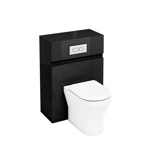aqua d300 back to wall wc unit with flush plate black. Black Bedroom Furniture Sets. Home Design Ideas