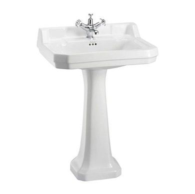 Picture of Burlington Edwardian 61cm Basin & Standard Pedestal - 2 Tap Holes