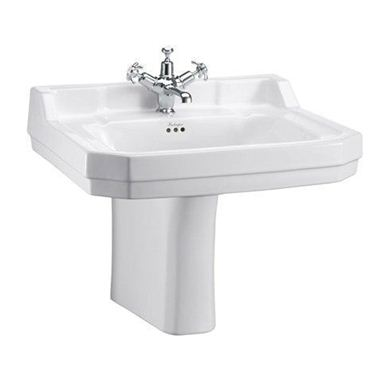 Picture of Burlington Edwardian 61cm Basin & Semi Pedestal - 2 Tap Holes