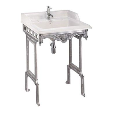Picture of Burlington Classic 65cm Basin and Polished Alluminium Stand - 1 Tap Hole