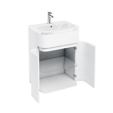 Picture of Aqua D450 Gullwing cabinet with 600 Quattrocast basin White