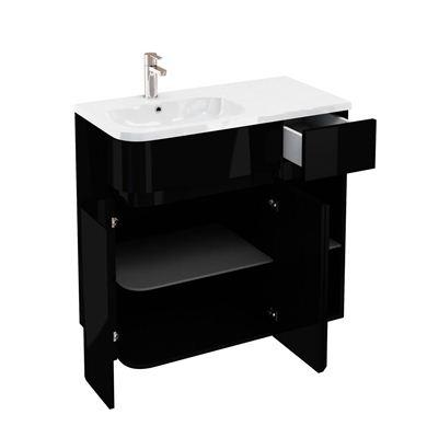 Picture of Aqua D450 Arc left hand cabinet with 900 Quattrocast basin Black