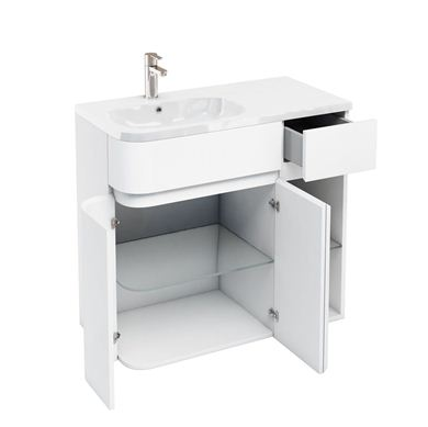 Picture of Aqua D450 Arc left hand cabinet with 900 Quattrocast basin White