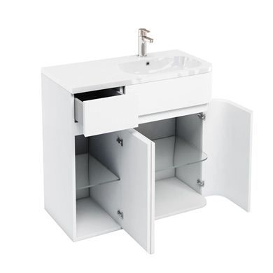 Picture of Aqua D450 Arc right hand cabinet with 900 Quattrocast basin White