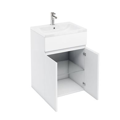 Picture of Aqua D450 double door unit and 600 Ceramic basin White