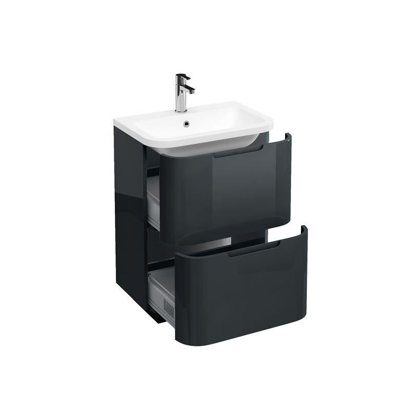 Aqua Compact 600 Two Drawer Floor Standing Vanity Unit