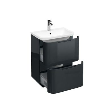 Picture of Aqua Compact 600 Two Drawer Floor Standing Vanity Unit with Compact 600mm Quattrocast Basin - Black