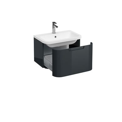 Picture of Aqua Compact 600 Single Drawer Wall Hung Vanity Unit with Compact 600 Quattrocast Basin - Black