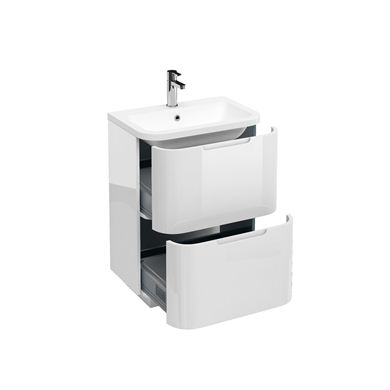 Picture of Aqua Compact 600 two drawer floor standing vanity unit with compact 600mm Quattrocast basin White