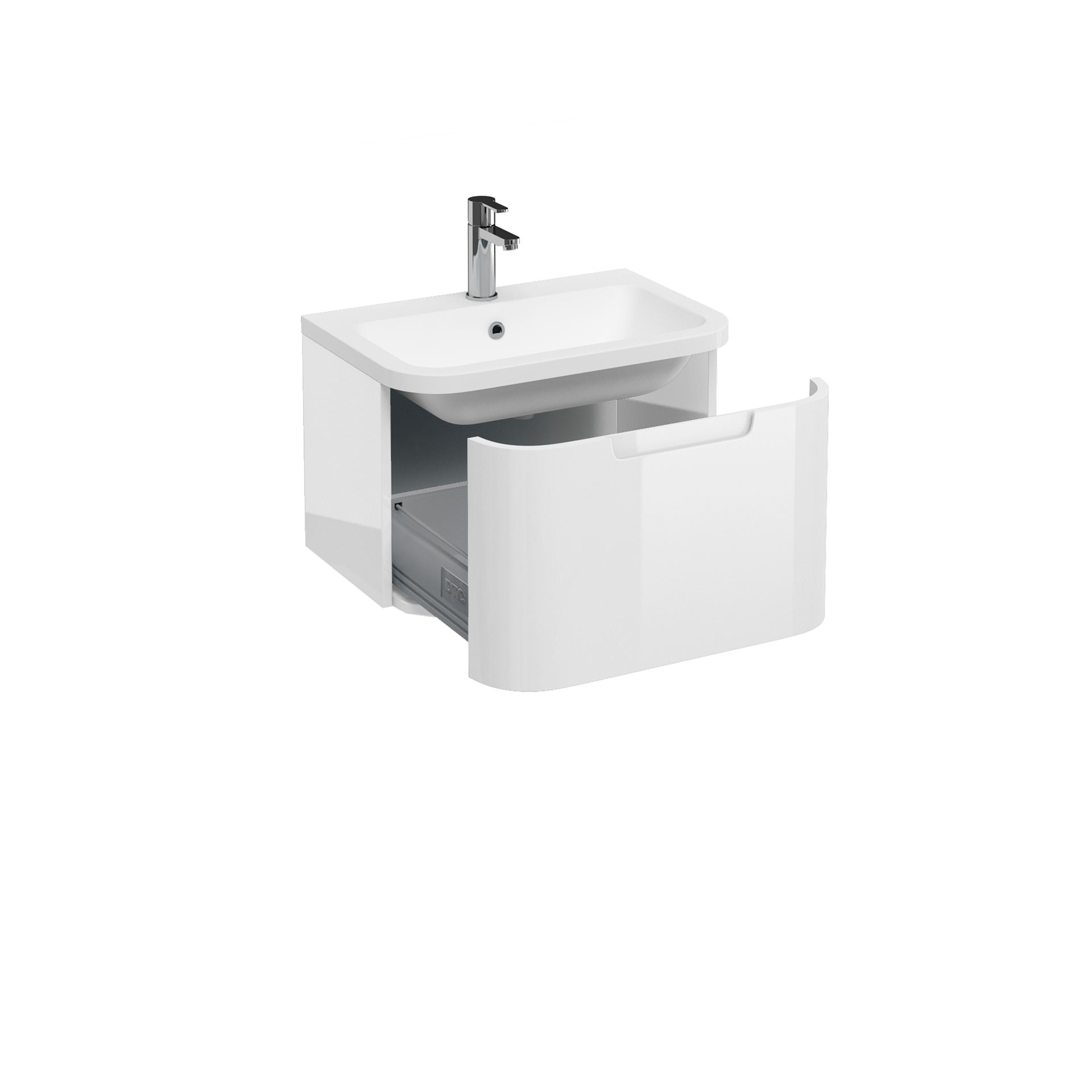 Aqua Compact 600 Single Drawer Wall Hung Vanity Unit With Compact 600mm Quattrocast Basin White Brighter Bathrooms