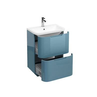 Picture of Aqua Compact 600 two drawer floor standing vanity unit with compact 600mm Quattrocast basin Ocean