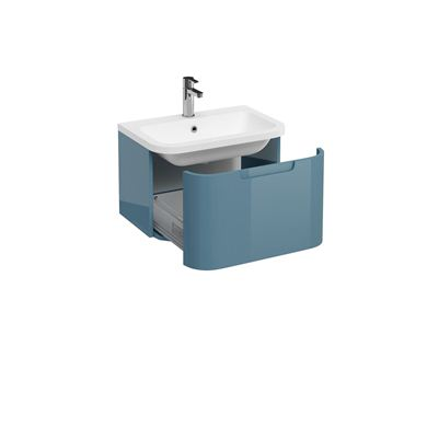 Picture of Aqua Compact 600 Single Drawer Wall Hung Vanity Unit with Compact 600 Quattrocast Basin - Ocean