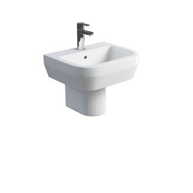 Picture of Britton Curve 50cm Curved Washbasin with Round Fronted Semi Pedestal