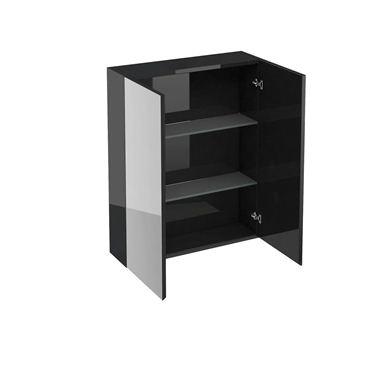 Picture of Aqua 600 double mirrored door wall cabinet Black