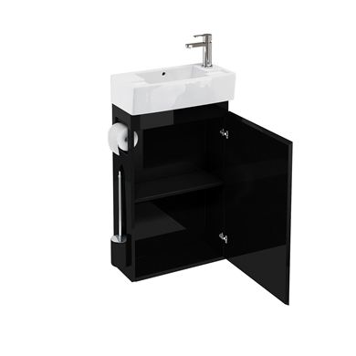 Picture of Aqua All-in-One floor standing unit and cloakroom basin black
