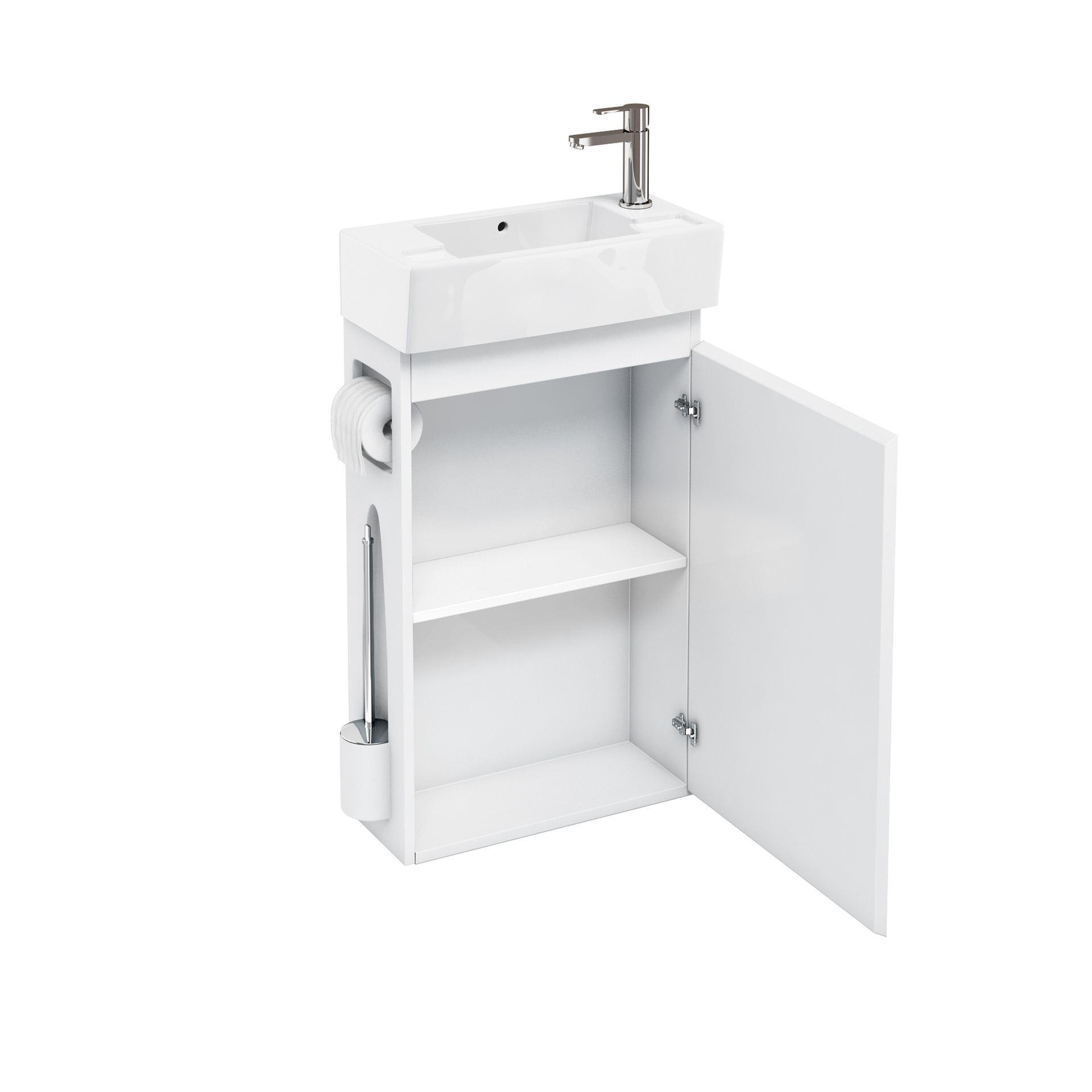 Aqua All In One Floor Standing Unit And Cloakroom Basin White