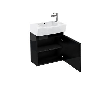 Picture of Aqua Compact 305 wall hung unit and cloakroom basin black