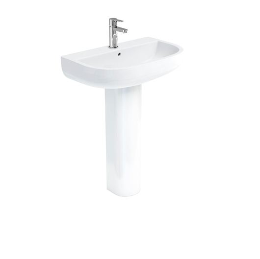 Picture of Britton Compact 650 basin and round fronted pedestal