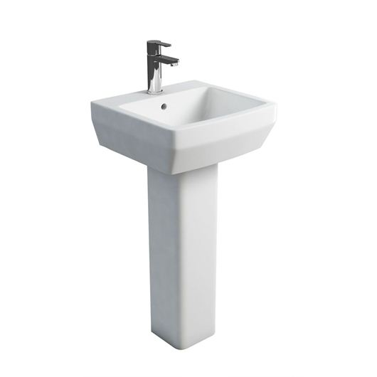 Picture of Britton Cube S20 500 basin and square fronted pedestal