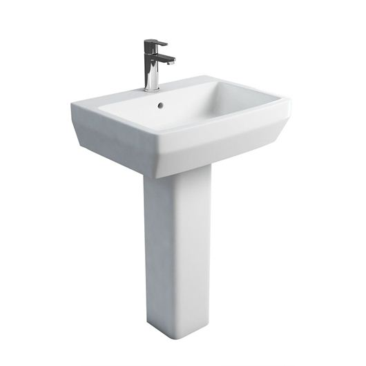 Picture of Britton Cube S20 600 basin and square fronted pedestal