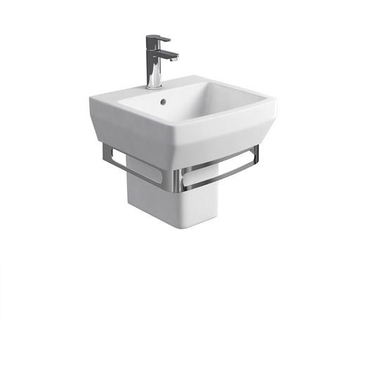 Picture of Britton Cube S20 500 basin and square fronted semi pedestal with stainless steel under basin towel rail