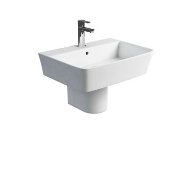 Picture of Britton Fine S40 600 basin and round fronted semi pedestal