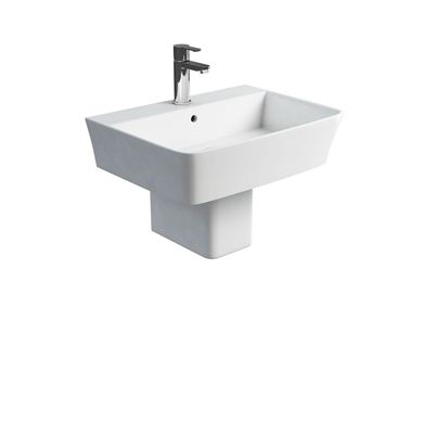 Picture of Britton Fine S40 600 basin and square fronted semi pedestal