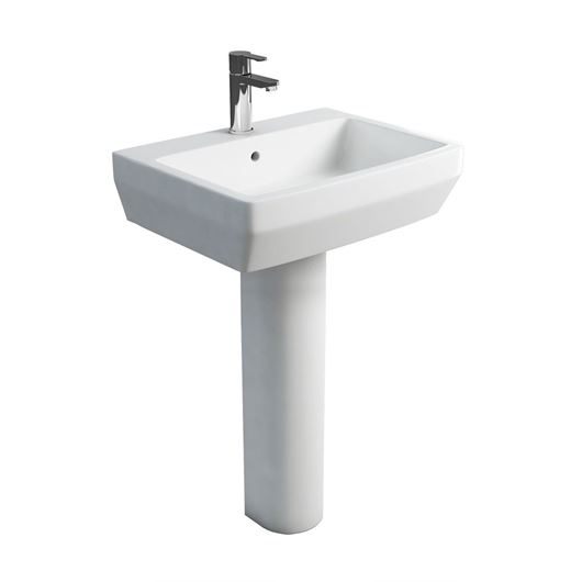 Picture of Britton Cube 600mm Basin and Tall Pedestal