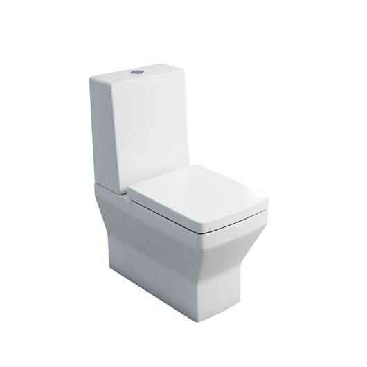 Picture of Britton Cube S20 close - coupled WC with standard lid cistern & soft close seat