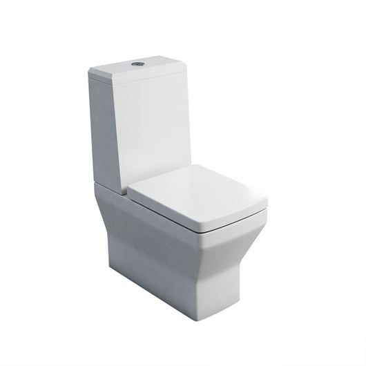Picture of Britton Cube S20 close coupled WC with angled lid cistern & soft close seat