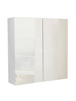 Picture of Calypso Verona 800 Mirrored Wall Cupboard - High Gloss White
