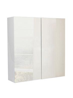 Picture of Calypso Verona 800 Mirrored Wall Cupboard - High Gloss White