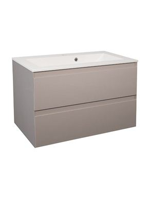 Picture of Calypso Verona 800 Wall Hung Vanity with 800 Vada Basin - Latte Gloss