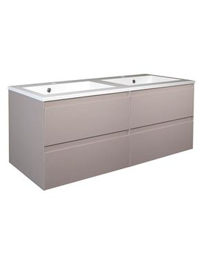 Picture of Calypso Verona 1200 Wall Hung Vanity with 1200 Vada Basin - Latte Gloss
