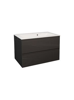 Picture of Calypso Verona 800 Wall Hung Vanity with 800 Vada Basin - Anthracite Gloss