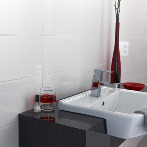 Rectified White Gloss Wall Tile Brighter Bathrooms