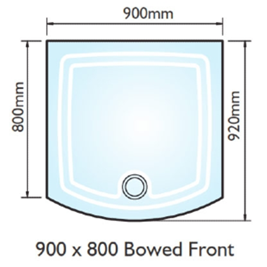 Picture of Kudos Concept 2 900x800 Bow Fronted Shower Tray