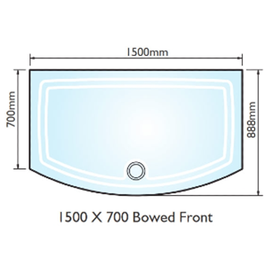 Picture of Kudos Concept 2 1500x700 Bow Fronted Shower Tray