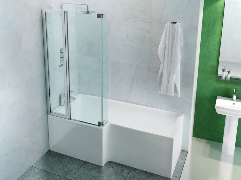 Cleargreen EcoSquare 1700mm Shower Bath - Left Hand | Brighter Bathrooms