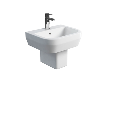 Picture of Britton Curve 50cm Basin & Square Fronted Semi Pedestal