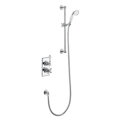 Picture of Burlington Trent Thermostatic Single Outlet Concealed Shower Valve with Rail, Hose and Handset
