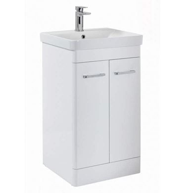 Picture of Riverside 500mm Floor Standing Vanity Unit & Basin - White Gloss